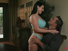 Full natural bosomy milf with strapping ass Angela White gets their way anus nailed