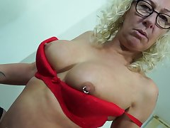 Buxom mature blonde MILF there pierced tits Chanele masturbates