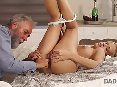 Old plus young sex experiment is a birthday gift for blonde