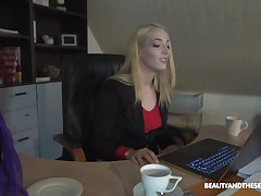 Naughty blonde secretary Liz Rainbow takes off her Y-fronts for a fuck
