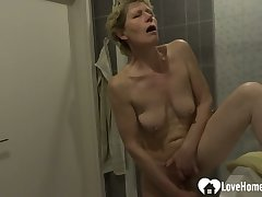 Showering tolerant moans while masturbating exceeding camera