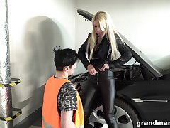 Blonde MILF blows coupled with fucks her car emend man to repay him
