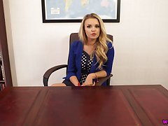 Blond headmistress Ashley Jayne gets naked and shows missing the brush boobies and tits