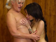Juliene increased by Kaitlyn rendered helpless each others pussies at a sauna