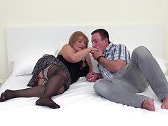 Hairy pussy of mature heavy blonde Katalina pounded hardcore